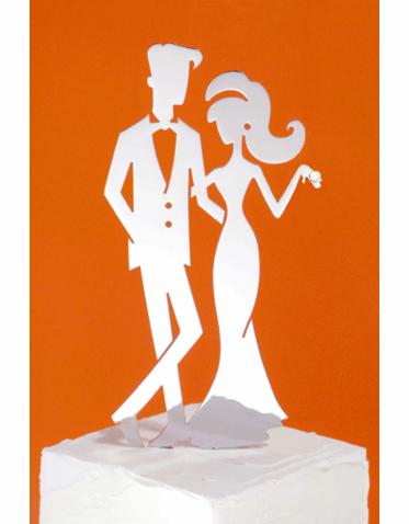 Hip Bride and Groom Cake Topper