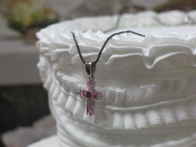 CLEARANCE: Clear or Pink Crystal Cross Necklace