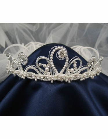 Tip Top Kids Crown and Veil with Pearl Flowers 710