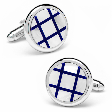 Polished Silver Mother Of Pearl And Lapis Grid Cufflinks