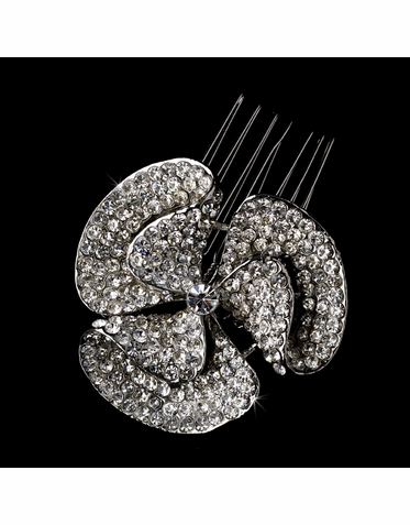 Silver Hair Comb with Dazzling Crystals and Rhinestones