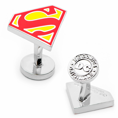 Enamel Superman Shield Cufflinks