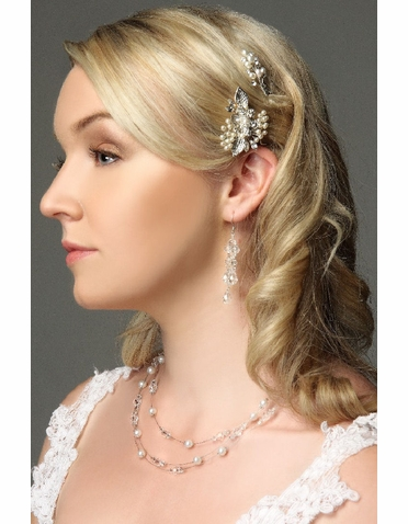 Filigree Flower Bridal Hairpin With Pearls IPN009