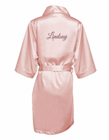 Personalized Satin Robe with Glitter Print