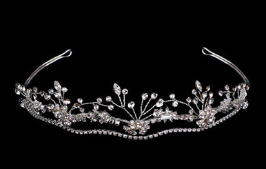 White and Silver Vine Tiara B9713