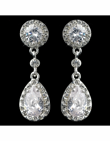 CLEARANCE: Elegant Drop Cubic Zirconial and Rhinestone Earrings - Only One Pair Left!