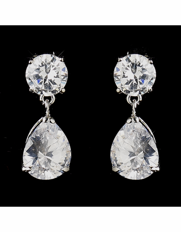 Brilliant Round and Pear CZ Drop Earrings