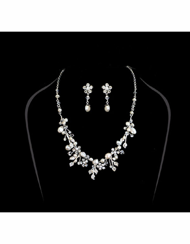 Freshwater Pearl and Crystal Bridal Necklace and Earrings Set