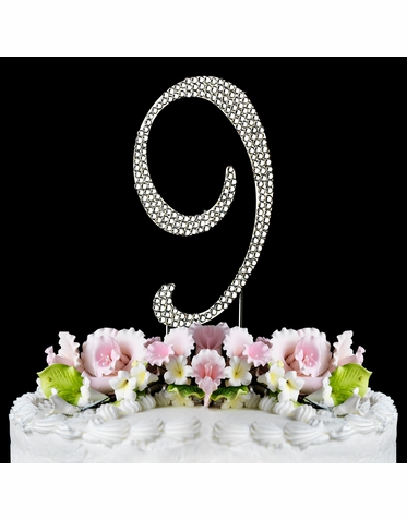 Crystal Covered Number 9 Birthday or Anniversary Cake Topper