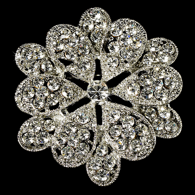 Vintage Style Silver Flower Brooch