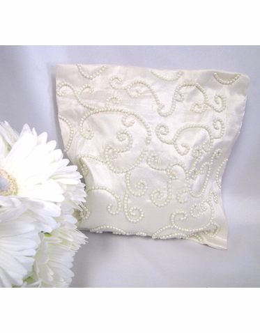 Ring Bearer Pillow Cover with Swirled Beading