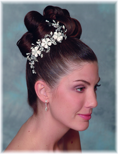 Porcelain Flower, Pearl, and Rhinestone Comb 9910