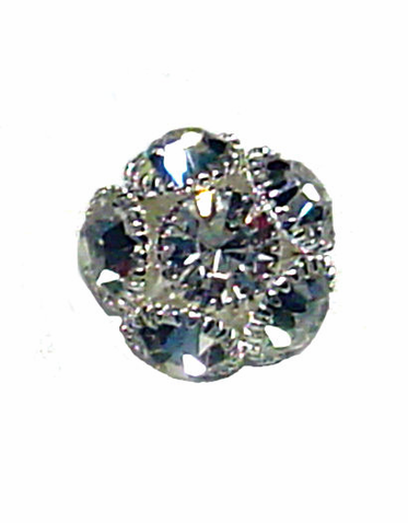 Domed Crystal Button in Flower Shape