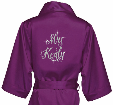 Satin Bridal Party Robes with Pretty Script Font