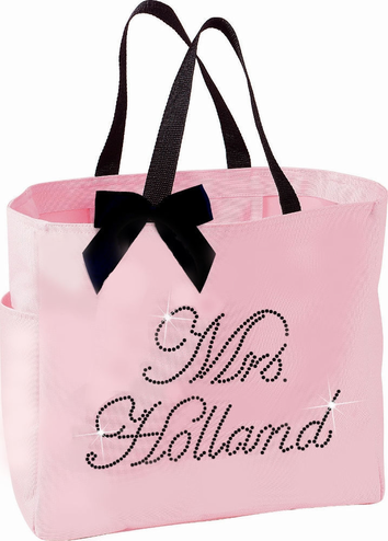 Canvas Bridal Party Tote Bags with Rhinestone Personalization and Optional Bow
