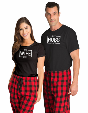 Matching Couples Pajamas for Hubs & Wife
