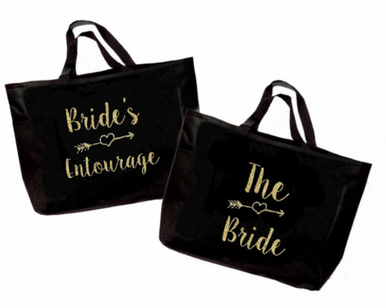 Bridal Party Tote Bag with Arrow Design - Optional Bow