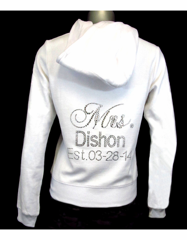 Personalized Rhinestone New Mrs. Hoodie - Custom Rhinestone Jacket