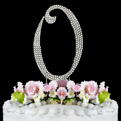 Fully Covered Crystal 0 Cake Topper