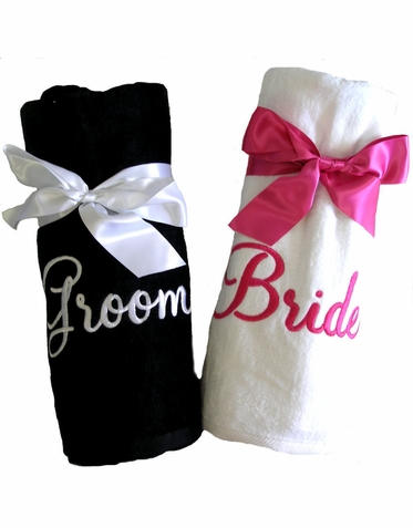 Bride or Groom Beach Towel - Mr or Mrs Beach Towel - Sold Individually