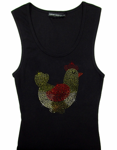 Custom Crystal Rooster Tank Top or T-Shirt