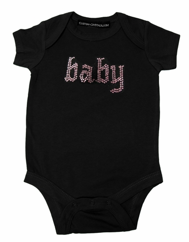 Custom Baby Rhinestone Infant One Piece T-Shirt in Old English
