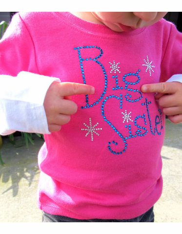 Sparkle Big Sister or Little Sister Rhinestone Long Sleeve Tee