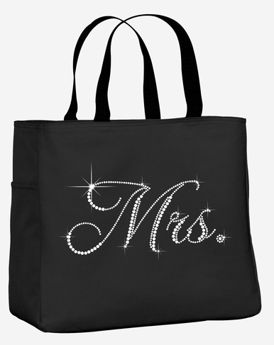 Rhinestone Mrs. Tote Bag with Optional Bow - Many Colors Available!