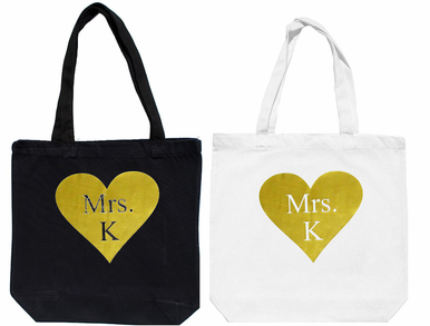 Matte Metallic Print Heart Tote Bag with Initial