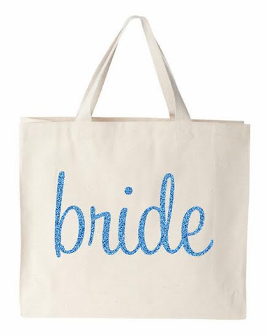 Sparkling Glitter Print Canvas Bridal Party Tote