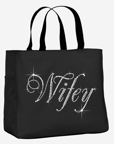 Rhinestone Wifey Tote Bag with Optional Bow - Many Colors Available!