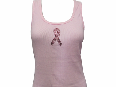 Rhinestone Pink Ribbon Tank or T-Shirt