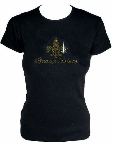 Rhinestone Geaux Saints T-Shirt - Geaux Saints Tank Top