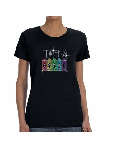 Rhinestone Bling Teachers Rock T Shirt