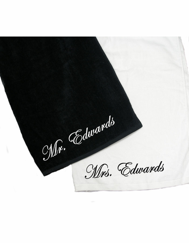 Personalized Beach Towel - Embroidered Mr. or Mrs. Towel