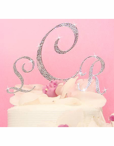 Monogram Wedding Cake Topper with Crystals