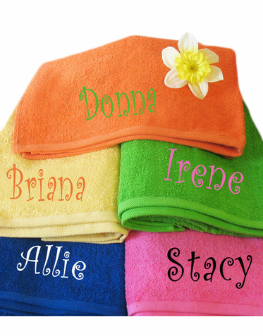 Embroidered Personalized Beach Towel with Optional Bow