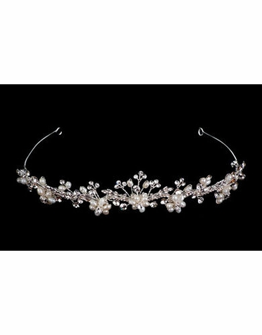 Silver and Ivory Pearl Flower Bridal Tiara B9715