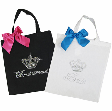 Rhinestone Crown Tote Bags for Bride and Bridesmaids