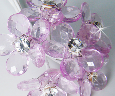 Lilac Crystal Bouquet Jewelry Flowers - Set of 12