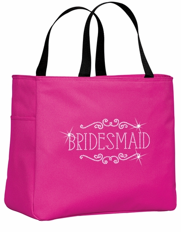 Rhinestone Personalized Tote Bag with Gorgeous Regal Frame