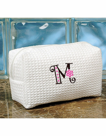 Embroidered Cosmetic Bag with Flower Letter Design