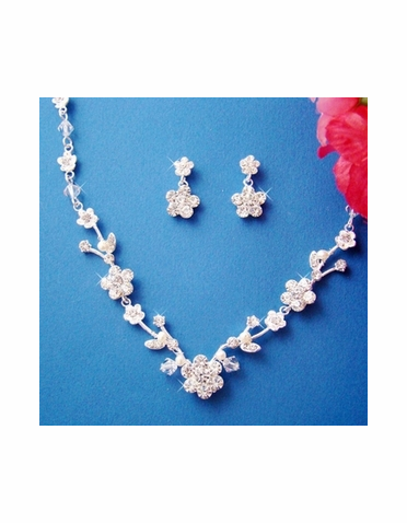 Crystal & Freshwater Pearl Jewelry Set NE-1456
