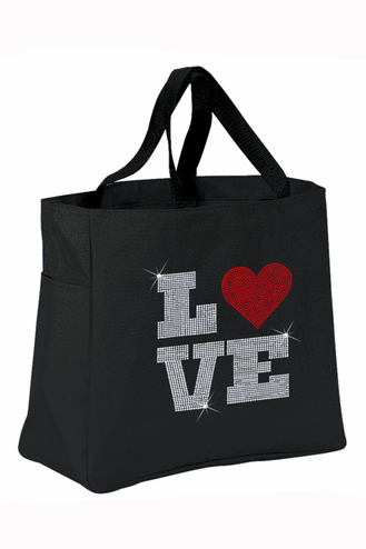 Rhinestone Love Tote Bag