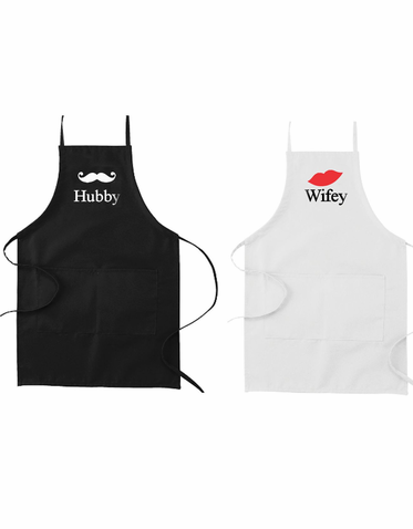 Custom Hubby and Wifey His and Hers Apron Set
