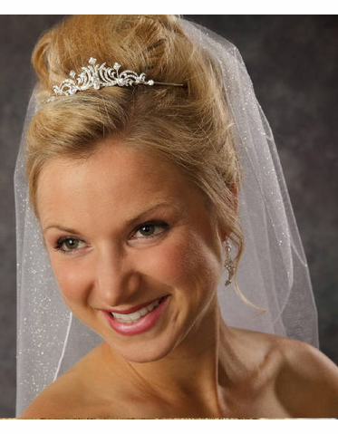 Petite Tiara with Ribboned Rhinestones 8030