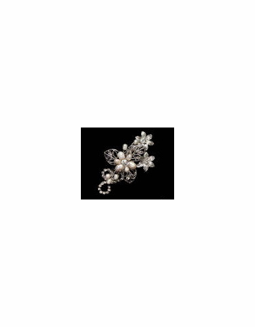 Freshwater Pearl Flower and Leaf Hair Clip 7063