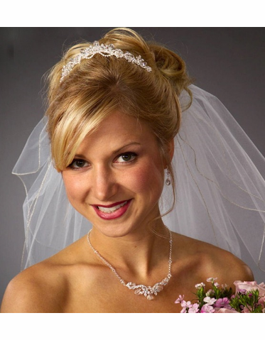 Rhinestone Tiara with Crystal Drops and Optional Veil 942
