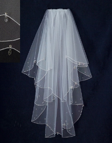 Two Tier Veil with Crystal Teardrops and Scalloped Edge V1347