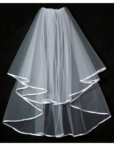 Circular Cut Ribbon Edge Bridal Veil V1279